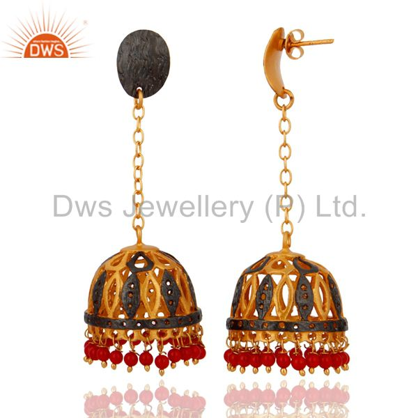 Exporter Natural Red Coral Gemstone 18K Gold Plated Designer Dangler Earring Gift Jewelry