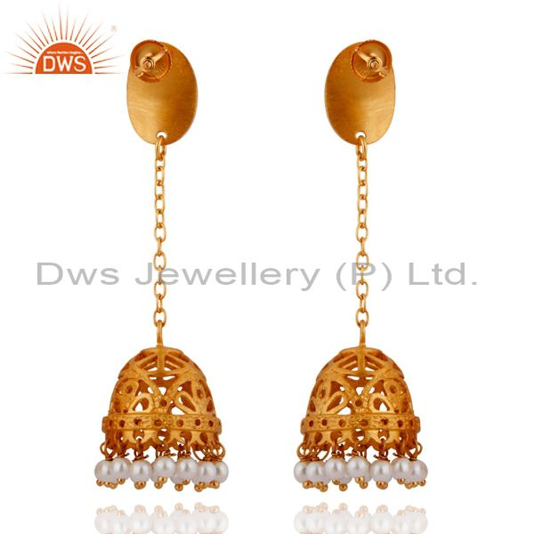 Exporter 24K Gold Plated Sterling Silver Hammered Pearl Long Chain Drop Jhumka Earrings