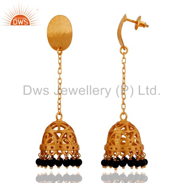 Exporter Indian Designer 925 Sterling Silver Gold Plated Black onyx Long Jhumkas Earrings