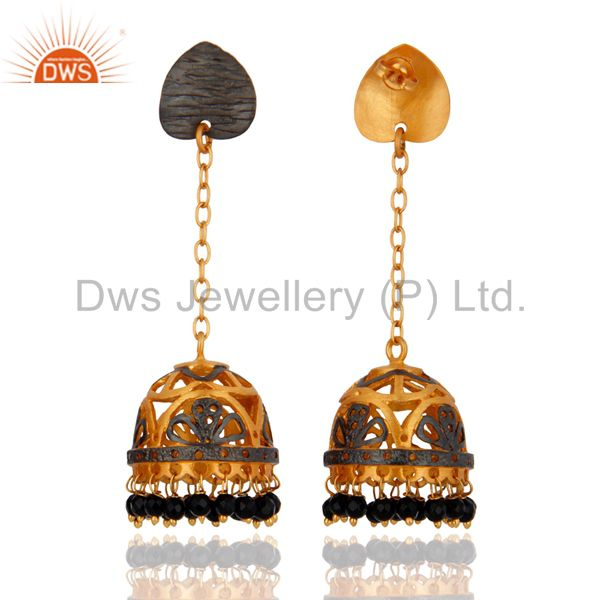 Exporter Indian 18K Yellow Gold Plated Onyx Black Beaded Jhumka Earring Fashion Jewelry