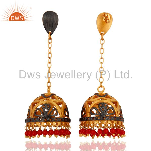 Exporter Traditional 18k Yellow Gold Plated Coral Gemstone Earrings Imitation Jewellery