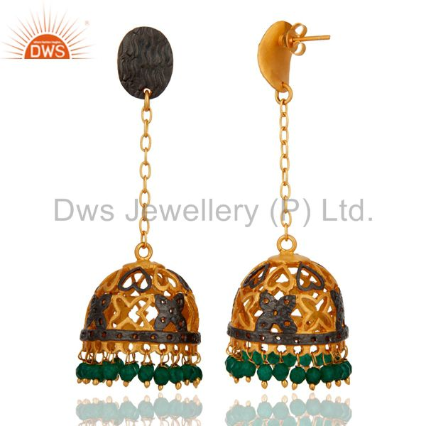Exporter Handmade 22K Yellow Gold Plated Green Onyx Gemstone Designer Jhumka Earrings