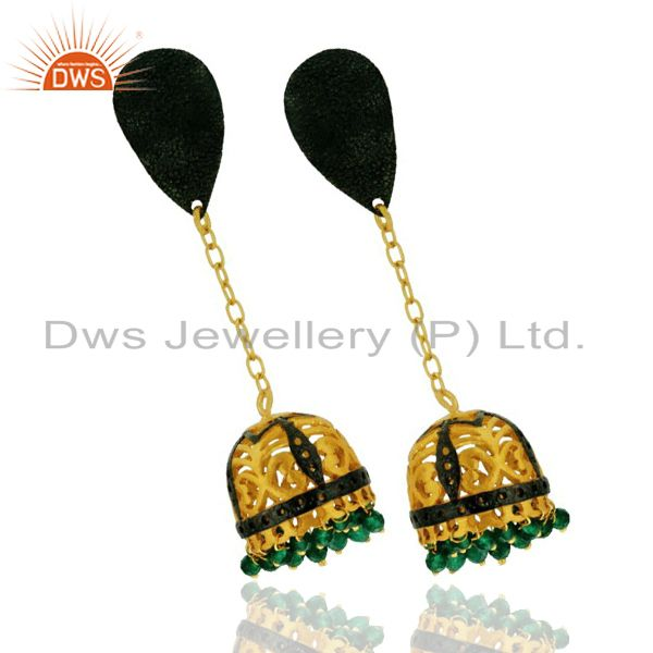 Exporter 18K Yellow Gold Plated Brass Green Onyx Jhumka Fashion Earrings