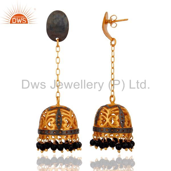 Exporter Indian Handmade Natural Semi Precious Stone Black Onyx 18K Gold Plated Earrings