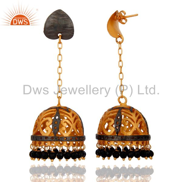 Exporter Designer Black Onyx Gemstone Jewelry Handmade 24k Gold Plated Jhumki Earrings