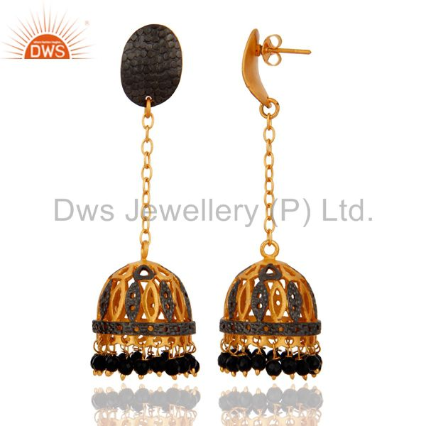 Exporter 18K Yellow Gold Plated Plated Jewelry Black Onyx Gemstone Drop Dangle Earrings