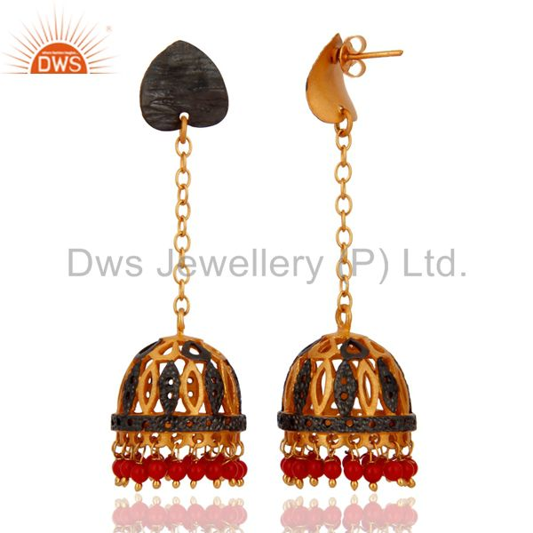 Exporter 18K Gold Plated Red Coral Gemstone Jhumka Earring Ethnic Fashion Designs Jewelry