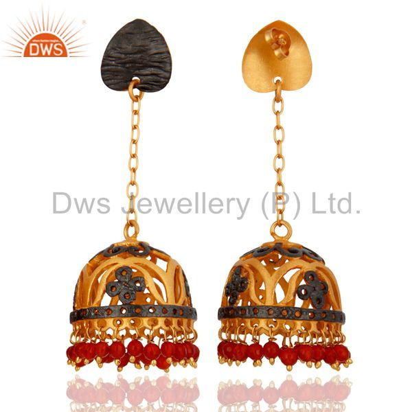 Exporter Red Onyx Gemstone Stunning 18k Yellow Gold Plated Earring Indian Wedding Jewelr