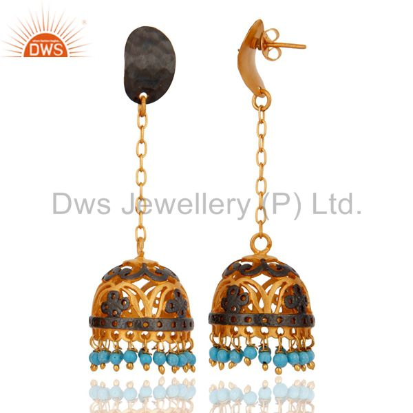 Exporter Genuine Turquoise Gemstone 18k Yellow Gold Plated South Indian Jhumka Earrings