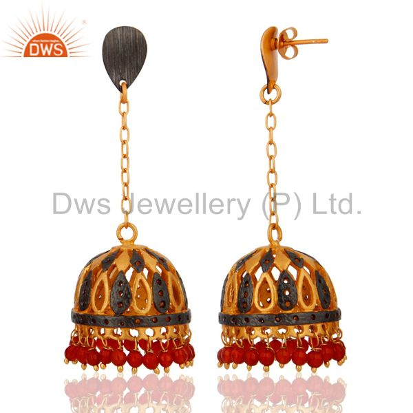Exporter Genuine Red Onyx Beads Long Chains Dangle Earrings 18k Gold Filled Jewelry