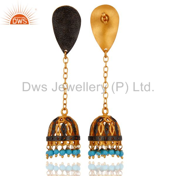 Exporter 18K Yellow Gold Plated Turquoise Gemstone Cheap Fashion Designer Dangle Earring