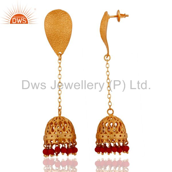 Exporter Handcrafted 925 Sterling Silver Gold Plated Red Coral Unique Designer Earrings