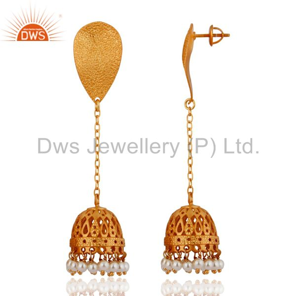 Exporter 22K Yellow Gold Plated Sterling Silver Pearl Beads Chain Dangle Jhumka Earrings