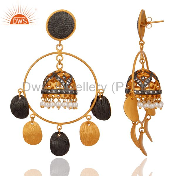 Exporter 18K Gold Plated Natural Pearl Designer Traditional Indian Chandelier Earrings