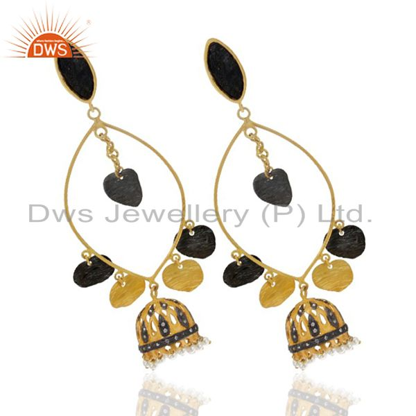 Exporter 24K Yellow Gold Plated Brass Cubic Zirconia And Pearl Ethnic Design Earrings