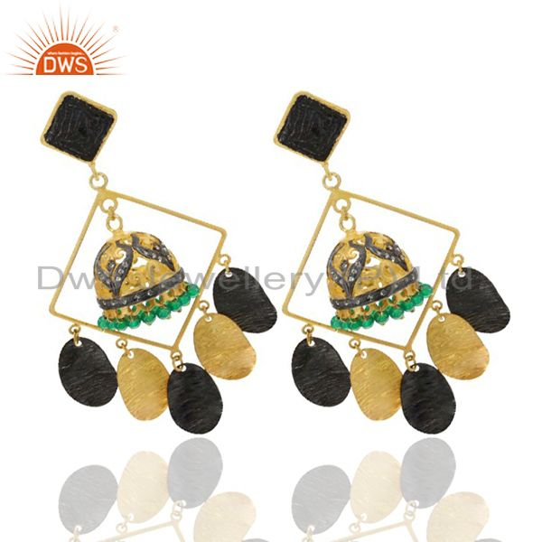 Exporter 22K Yellow Gold Plated Brass Green Onyx And CZ Ethnic Jhumka Fashion Earrings