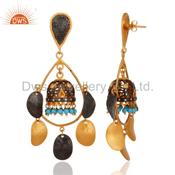 Exporter Indian Artisan Turquoise Gemstone 24k Gold Plated Belly Dance Earrings Jewelry