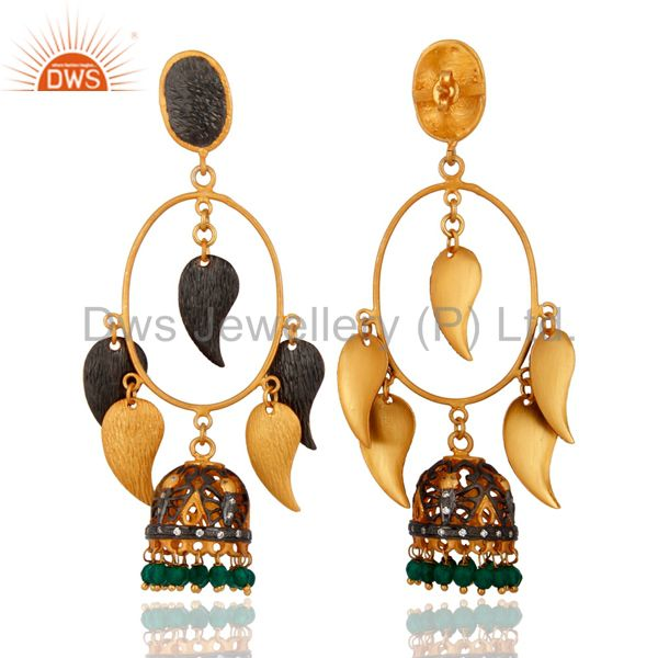Exporter 18K Yellow Gold Plated Brushed Finish Green Onyx Womens Chandelier Earrings
