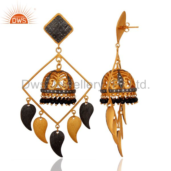 Exporter 22K Yellow Gold Plated Brass Black Onyx And CZ Womens Chandelier Earrings