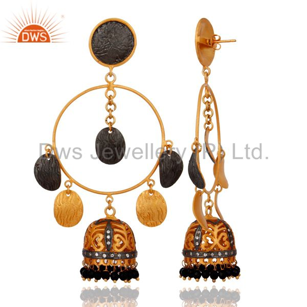 Exporter Brushed Gold Plated Black Onyx And CZ Bridal Fashion Jhumka Chandelier Earrings