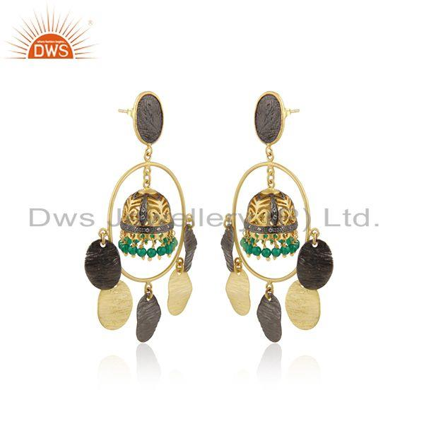 Traditional gold over jhumka green onyx cz brass fashion earrings