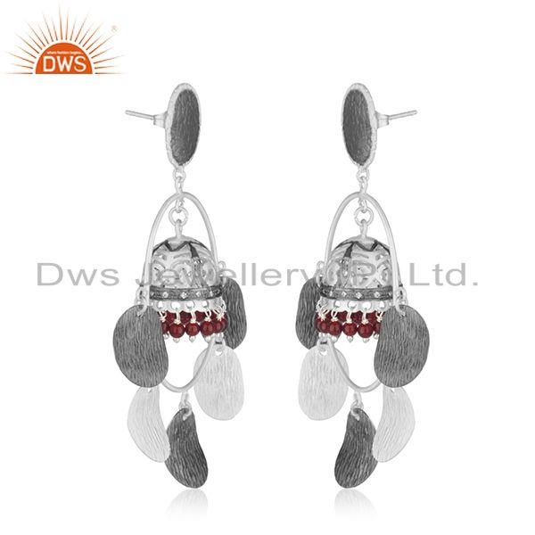 Exporter Multi Color Brass Fashion Red Onyx Gemstone Jhumka Earrings Wholesale