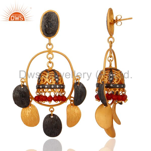 Exporter Brushed Gold Plated Red Onyx And CZ Bridal Fashion Jhumka Chandelier Earrings