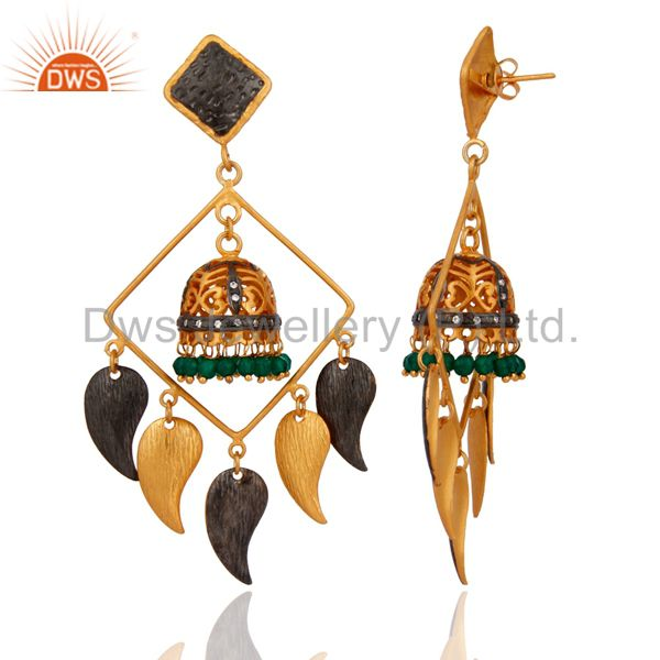 Exporter Brushed Gold Plated Green Onyx & CZ Bridal Fashion Jhumka Chandelier Earrings