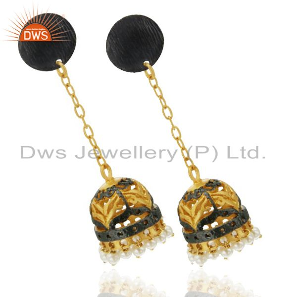 Exporter Pearl Indian Jhumka Earrings Made In 18K Yellow Gold Over Brass
