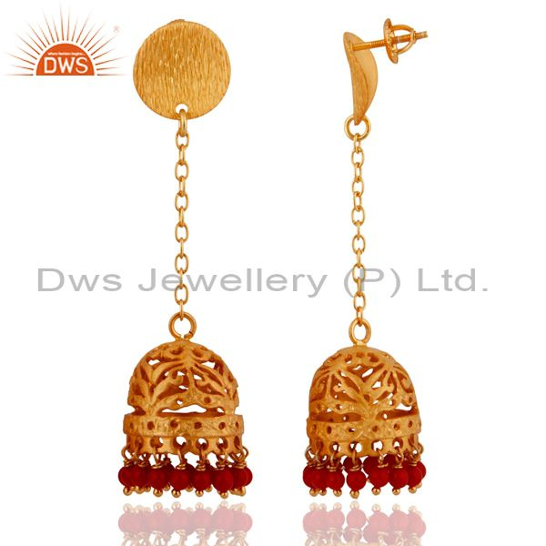 Exporter 18k Gold Plated 925 Sterling Silver Brush Finish Red Coral Jhumka Style Earrings