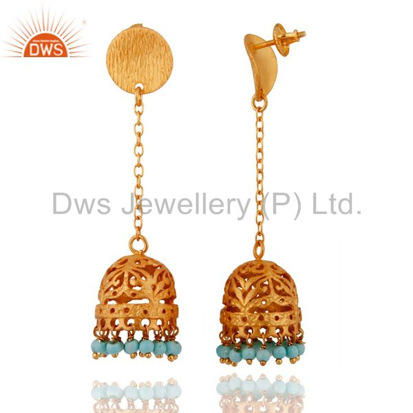 Exporter 925 Sterling Silver Turquoise Jewelry 18k Gold Plated Jhumka Designer Earrings