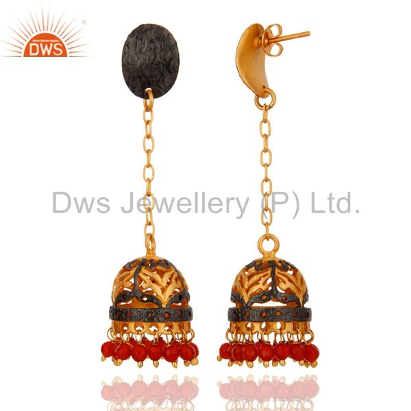 Exporter Natural Red Onyx Gemstone Beads 18K Gold Plated Party Wear Jhumki Earring