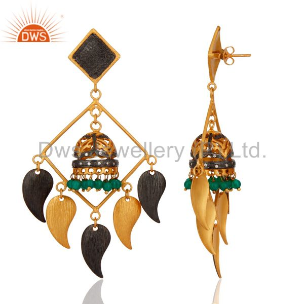 Exporter 18k Gold Plated Brass Green Onyx Gemstone Earrings Belly Dance Jewelry