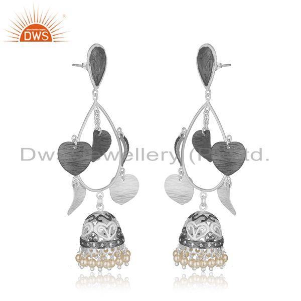 Exporter White Pearl Multi Plating Brass Fashion Jhumka Indian Earrings Wholesaler India