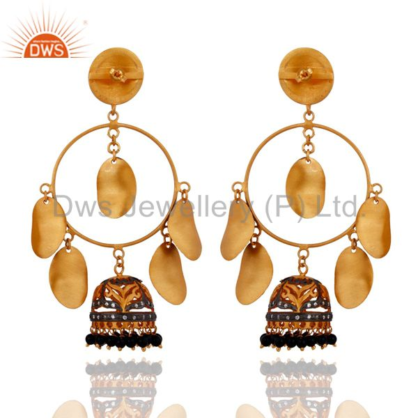 Exporter Black Onyx Gemstone Beads Wedding Bridal Earrings 14K Yellow Gold Plated Jewelry