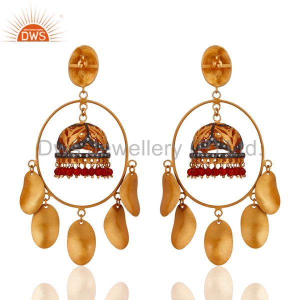 Exporter 22k Yellow Gold Plated Red Onyx Semi Precious Stone Beads Wedding Gifts Earring