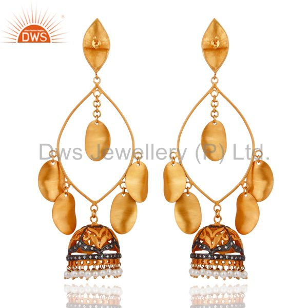 Exporter 18K Yellow Gold Plated Natural Pearl Ethnic Fashion Hammered Designer Earrings