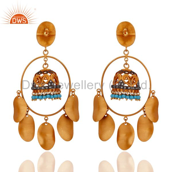 Exporter 18K Yellow Gold Plated Pretty Designer Turquoise Stone Wedding Earrings Jewelry