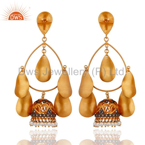Exporter Natural Pearl Womens Chandelier Earrings With Stunning 18K Yellow Gold Plated