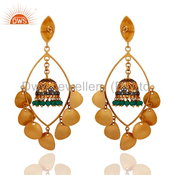 Exporter Handmade Green Onyx Gemstone 14k Gold Plated Tribal chandelier Earrings
