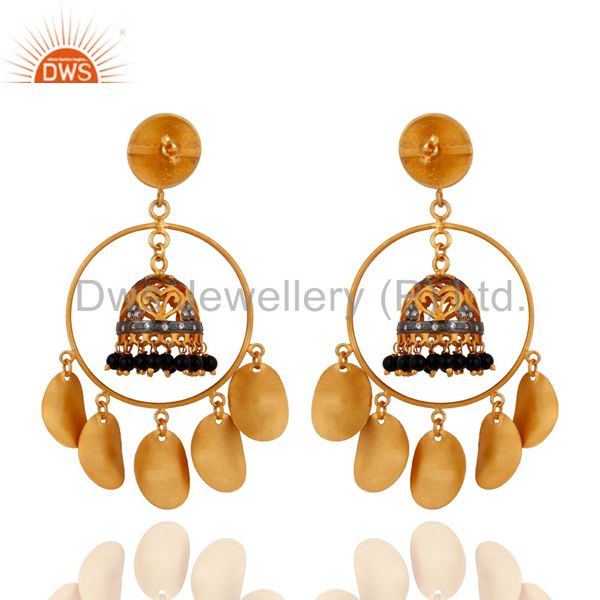 Exporter Indian Crafted 22k Gold Plated Black Onyx Tribal Banjara Belly Dance Earrings