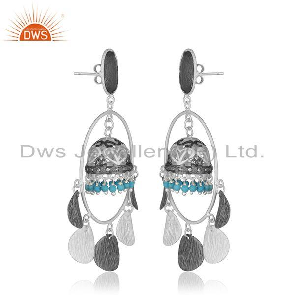 Exporter Traditional Silver Plated Brass Fashion Gemstone Jhumka Earrings Manufacturer