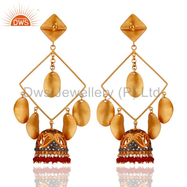 Exporter Designer Gold Plated Red Onyx Belly Dance Womens Dangle Earring