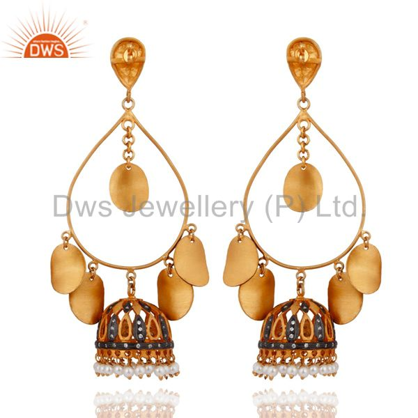 Exporter New 18K Yellow Gold Plated Pearl Beads Tribal Designer Fashion Earrings Jewelry