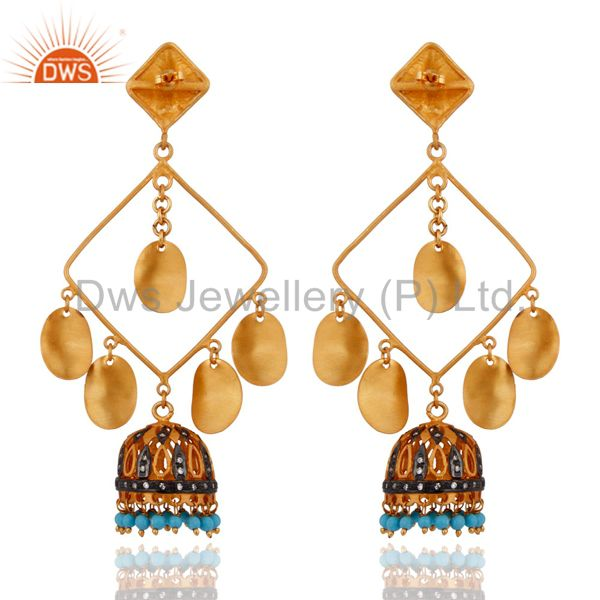 Exporter Latest Designer Natural Pearl Beads 18K Yellow Gold Plated Women Fashion Earring