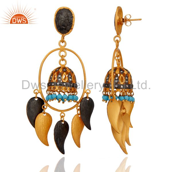 Exporter 18K Yellow Gold Plated Brass Turquoise And CZ indian Fashion Jhumka Earrings