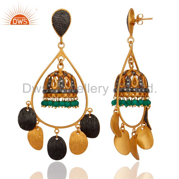 Exporter Green Onyx Gemstone Jhumka Chandelier Earrings in 18K Gold over Brass Jewelry