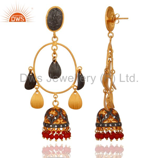 Exporter CZ And Red Onyx Gemstone Jhumka Chandelier Earrings in 18K Gold On Brass Jewelry