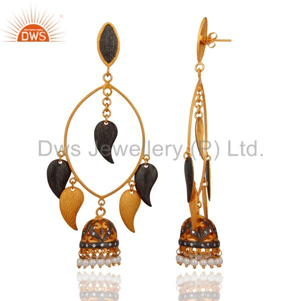 Exporter 22K Gold Plated Brass Brushed Finish Pearl And CZ Fashion Designer Earrings