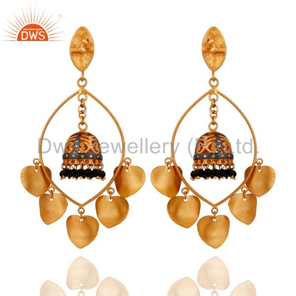 Exporter Handmade 18k Gold-Plated Black Onyx & Cubic Zirconia Indian Traditional Earrings